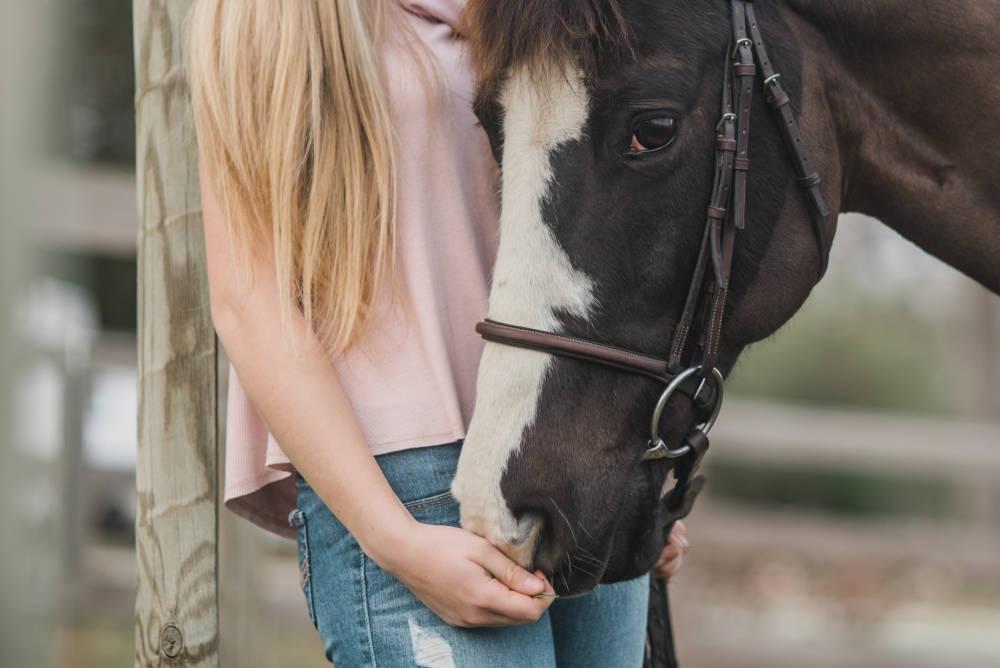 Une fille caresse la tête du cheval